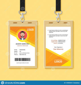 Simple Orange Graphic Id Card Design Template Stock Vector inside Company Id Card Design Template