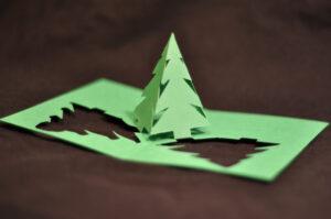Simple Pyramid Christmas Tree Pop Up Card Template with regard to 3D Christmas Tree Card Template