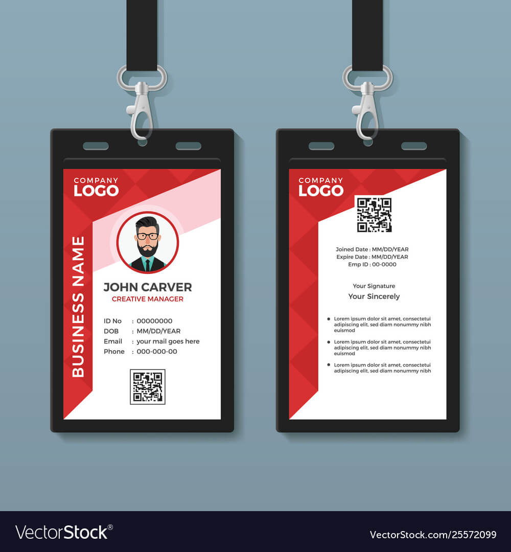 Simple Red Graphic Id Card Template Inside Id Card Template Ai