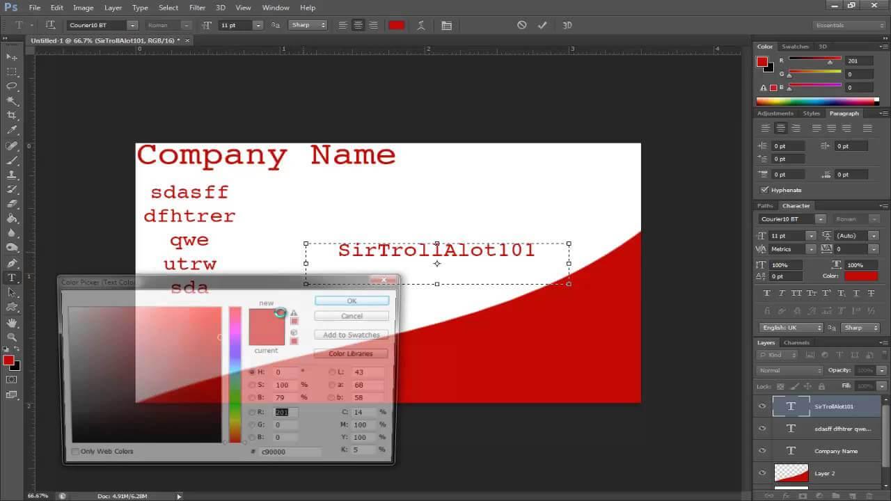 Simple Tutorials - Photoshop Cs6 - Making A Buisness Card Inside Photoshop Cs6 Business Card Template