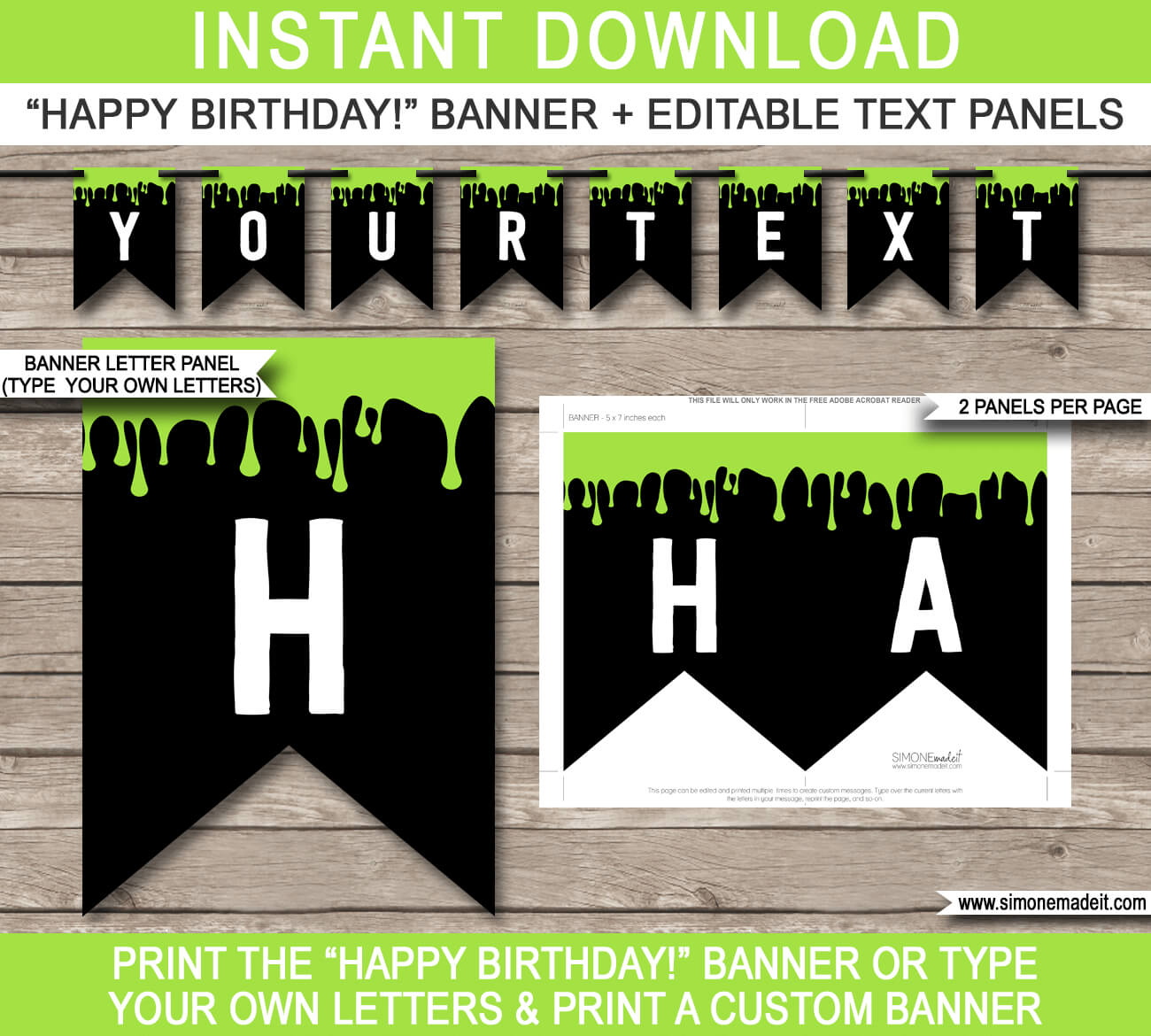 Slime Party Pennant Banner Template – Green For Free Happy Birthday Banner Templates Download