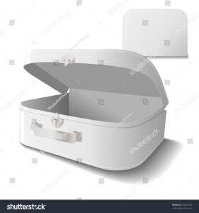 Small Cardboard Suitcase Template Handle White Stock Vector intended for Blank Suitcase Template