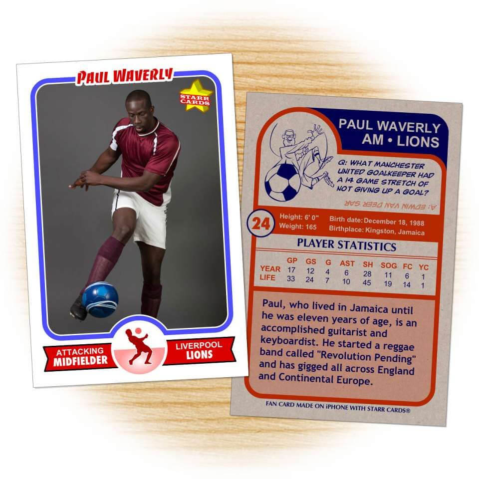 Soccer Card Template From Starr Cards Soccer Card Maker inside Soccer Trading Card Template