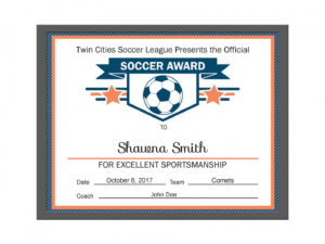 Soccer Certificate Template within Soccer Award Certificate Templates Free