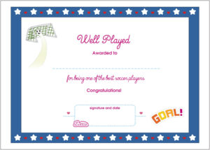 Soccer Printable Award Certificate (Us Spelling) – Lottie Dolls regarding Soccer Award Certificate Templates Free