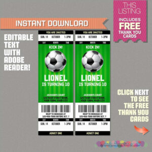 Soccer Ticket Invitation Template Free Best Of Soccer Ticket for Soccer Thank You Card Template