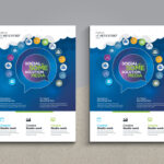 Social Media Flyer With Social Icons & Blue Background Free Inside Social Media Brochure Template