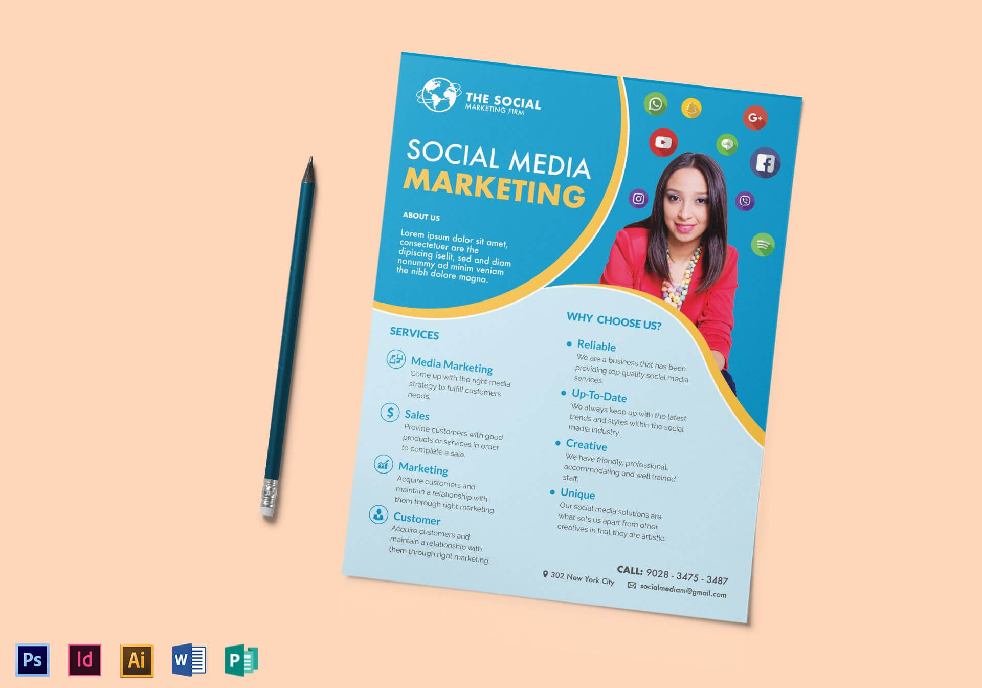 Social Media Marketing Flyer Template With Social Media Brochure Template
