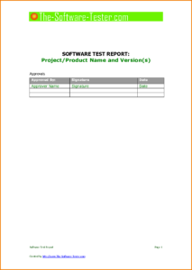 Software Testing Report Template And 8 Test Report Template regarding Software Test Report Template Xls