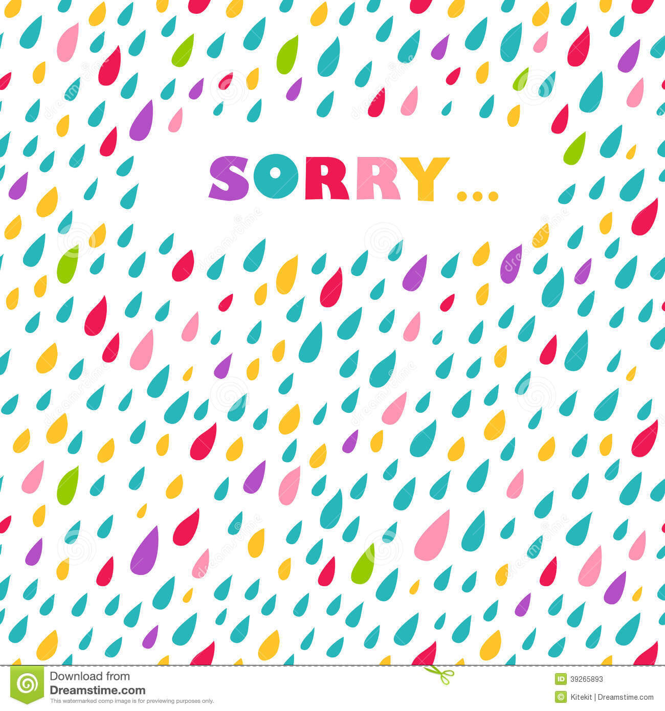 Sorry' Card. Drops Background. Stock Vector - Illustration Regarding Sorry Card Template