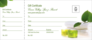 Spa Logo Gift Certificate with Spa Day Gift Certificate Template