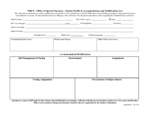 Special Education Accommodations Checklist | Special pertaining to Blank Iep Template
