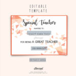 Special Teacher Award Certificate Template Editable In Word, Special  Appreciation Gift For Best Teacher Award, Thank You Teacher Certificate With Best Teacher Certificate Templates Free