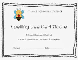 Spelling Bee Award Certificate Template within Spelling Bee Award Certificate Template