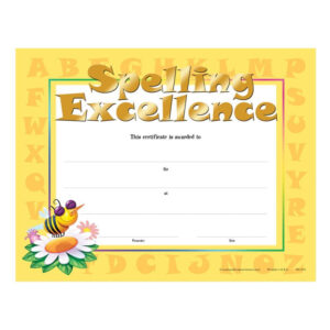 Spelling Excellence Gold Foil-Stamped Certificates within Spelling Bee Award Certificate Template