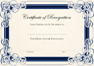 Sports Cetificate | Certificate Of Recognition A4 Thumbnail inside Teacher Of The Month Certificate Template