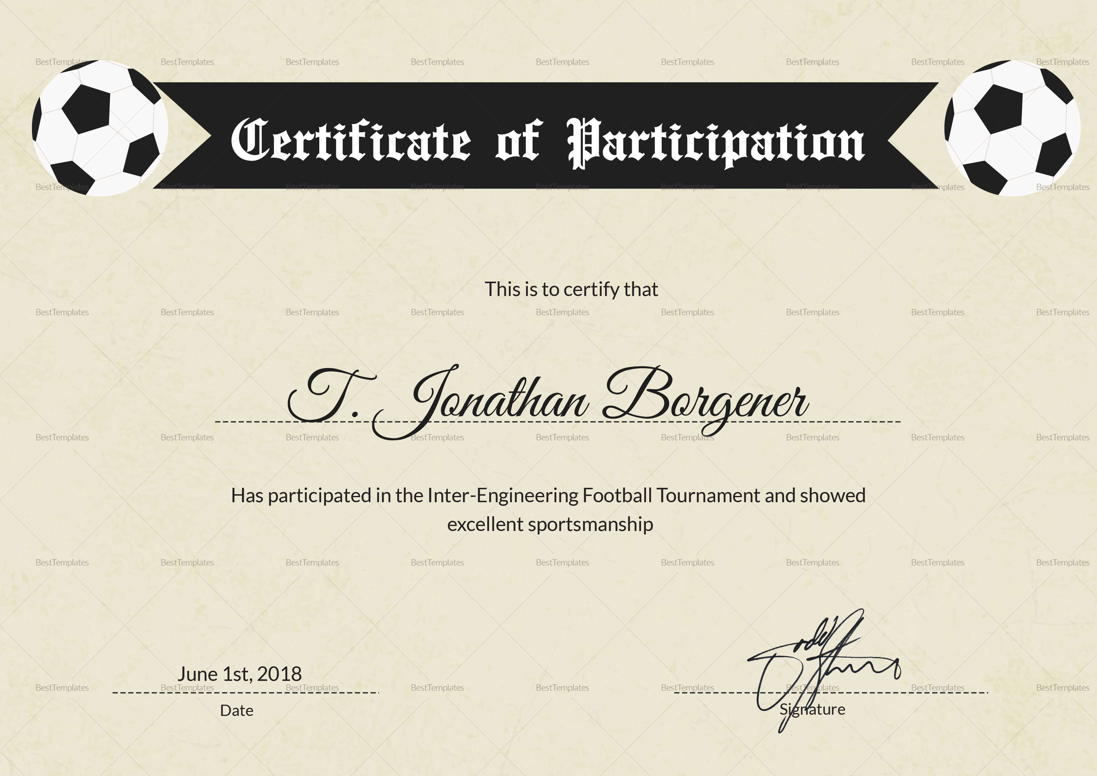 Sports Day Football Certificate Design Template In Psd, Word Inside Football Certificate Template