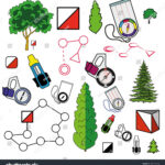 Sports Orienteering Icons Set Of Elements: Control Points Within Orienteering Control Card Template