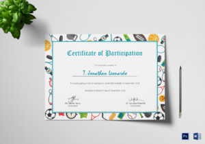 Sports Participation Certificate Template inside Certificate Of Participation Template Word