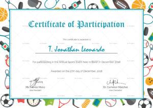 Sports Participation Certificate Template throughout Sports Day Certificate Templates Free