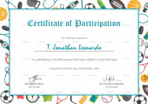 Sports Participation Certificate Template with Templates For Certificates Of Participation