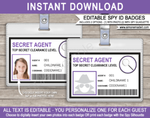 Spy Or Secret Agent Badge Template – Purple for Spy Id Card Template
