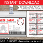 Spy Or Secret Agent Badge Template – Red | Girl Scouts | Spy pertaining to Spy Id Card Template