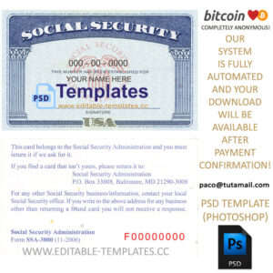 Ssn Usa Social Security Number Template for Social Security Card Template Psd