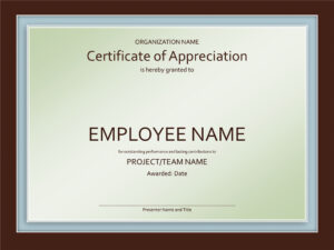 Staff Appreciation Certificate Template inside Employee Anniversary Certificate Template