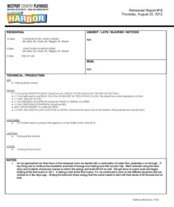 Stage Manager Rehearsal Report – Google Search | Stage in Rehearsal Report Template