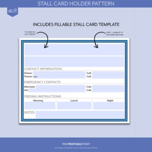 Stall Card Holder Pattern + Printable Stall Card with Horse Stall Card Template