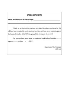 Stock Certificate – Templates Hunter pertaining to Share Certificate Template Companies House