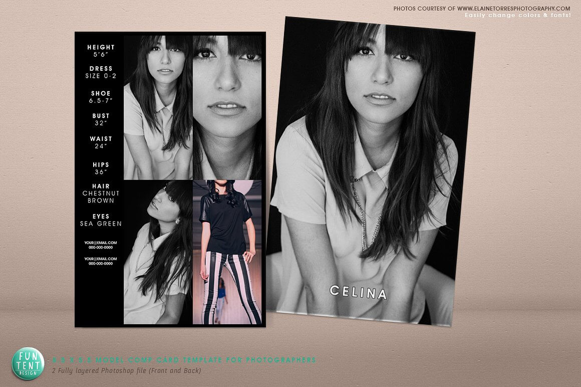 Striking Model Comp Card Template Ideas Free Photoshop In Free Comp Card Template
