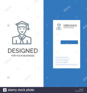 Student, Education, Graduate, Learning Grey Logo Design And in Student Business Card Template