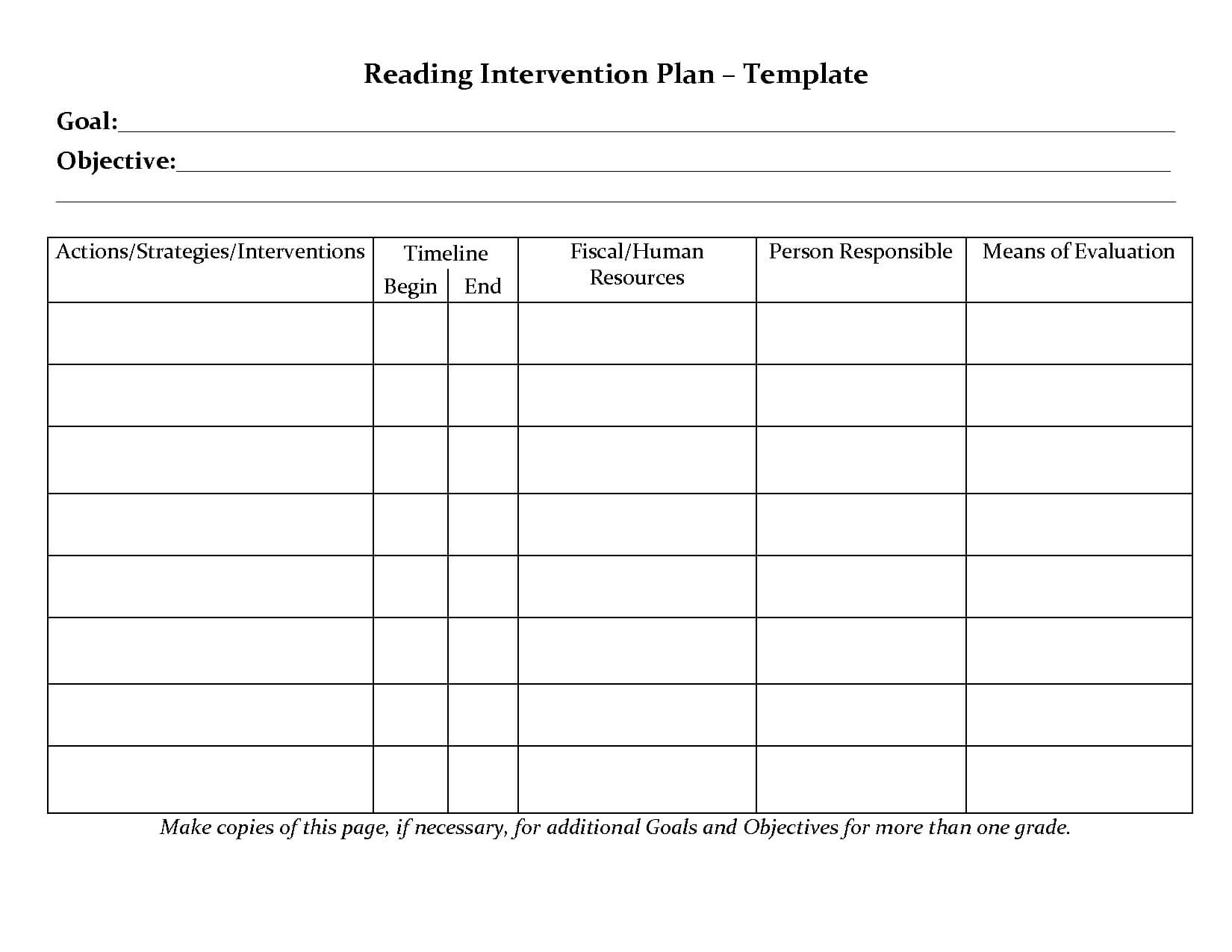 Student Planner Templates | Reading Intervention Plan inside Intervention Report Template