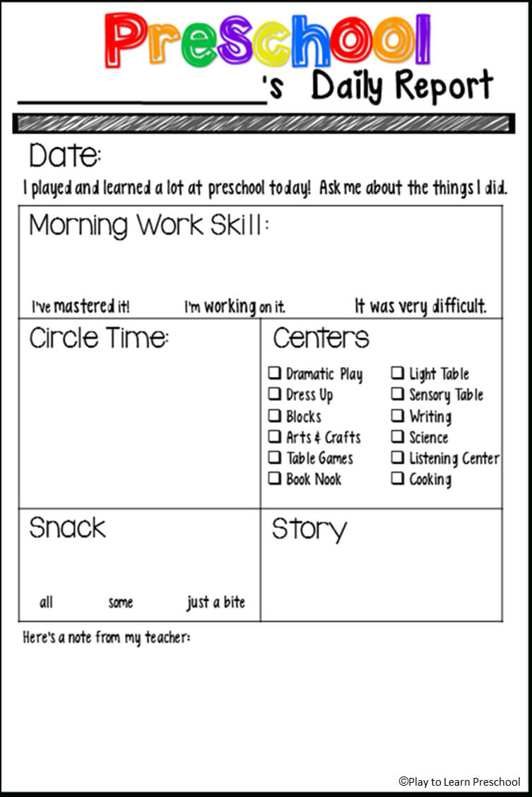 Students' Stuff | Preschool Fun | Preschool Daily Report For Preschool Weekly Report Template