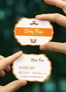 Stylish Custom Shaped Massage Therapy Business Card Template throughout Massage Therapy Business Card Templates