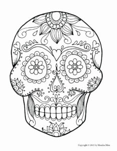 Sugar Skull Drawing Template At Paintingvalley | Explore in Blank Sugar Skull Template