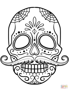 Sugar Skull With Mustache Coloring Page From Sugar Skulls throughout Blank Sugar Skull Template