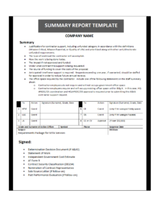 Summary Report Template within Company Analysis Report Template