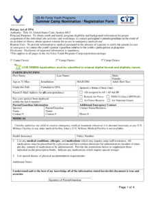 Summer Camp Registration Form – 2 Free Templates In Pdf pertaining to Camp Registration Form Template Word