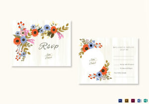 Summer Floral Rsvp Wedding Card Template with regard to Template For Rsvp Cards For Wedding