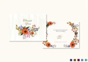 Summer Floral Thank You Card Template In Thank You Card Template Word