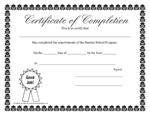 Sunday School Promotion Day Certificates | Sunday School pertaining to Player Of The Day Certificate Template