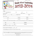 Sunday School Registration Form   Biz Card   Sunday School With School Registration Form Template Word