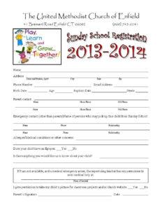 Sunday School Registration Form | Biz Card | Sunday School with School Registration Form Template Word