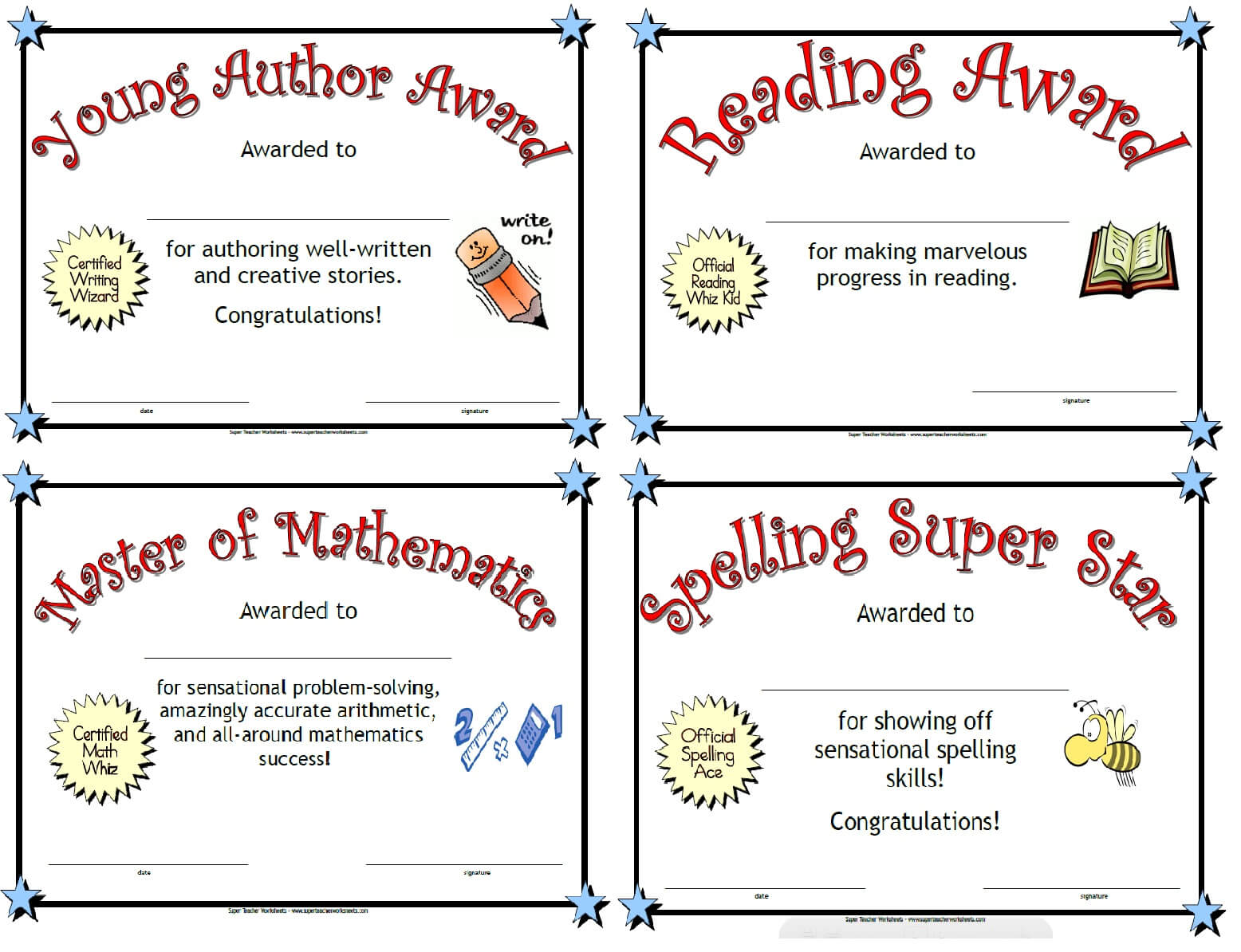 Super Teacher Worksheets | Printable Awards Within Math Certificate Template