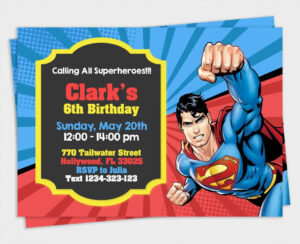 Superman Birthday Invitation Maker Card Template Bday High intended for Superman Birthday Card Template