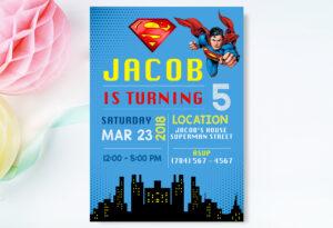 Superman Invitation, Superman Invite , Superman Birthday Invitation,  Superman Birthday Party, Superman Printable Movie Invite, Superhero throughout Superman Birthday Card Template