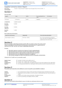 Supplier Corrective Action Report Template: Improve Your inside Corrective Action Report Template